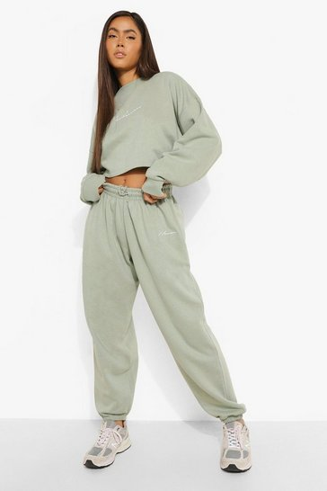 Sage green Green Oversized Embroidered Woman Joggers