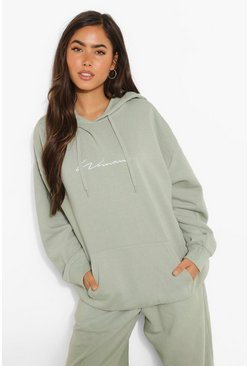 Oversized Embroidered Woman Script Hoodie, Sage grün