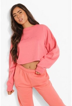 Cropped Woman Embroidered Sweatshirt, Coral rose