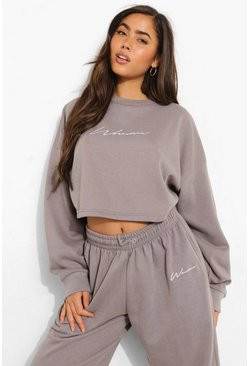 Charcoal grey Cropped Woman Embroidered Sweatshirt