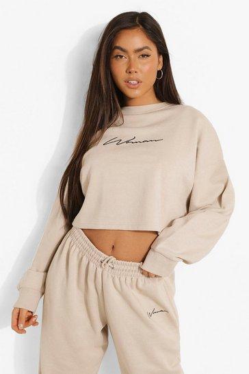 Stone beige Beige Cropped Woman Embroidered Sweatshirt