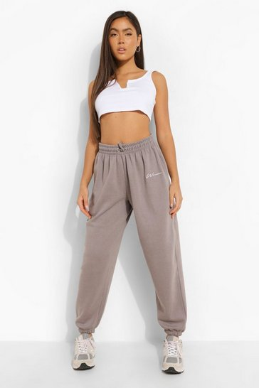 Charcoal grey Grey Oversized Embroidered Woman Joggers