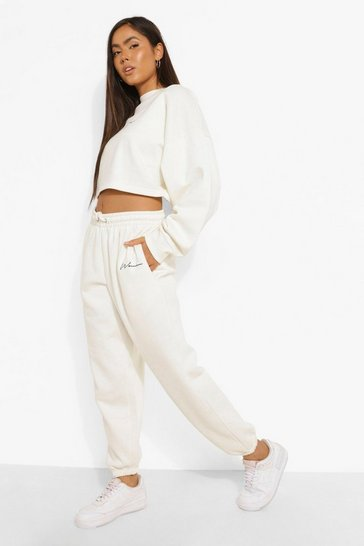 Ecru white White Oversized Embroidered Woman Joggers