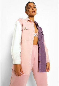 Lilac purple Cord Colourblock Shirt