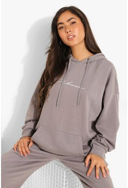 Charcoal grey Oversized Embroidered Woman Script Hoodie