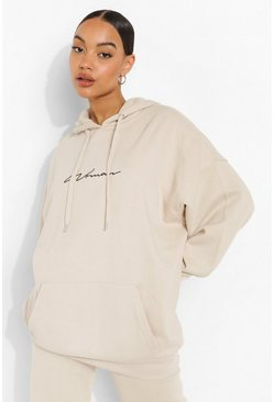Stone beige Oversized Embroidered Woman Script Hoodie