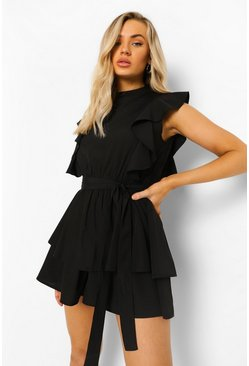 High Neck Frill Detail Belted Playsuit, Black negro