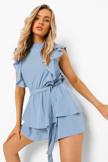 Light blue blue High Neck Frill Detail Belted Playsuit