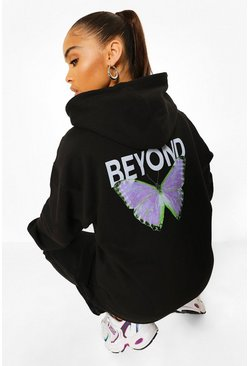 Black Butterfly Back Print Oversized Hoodie