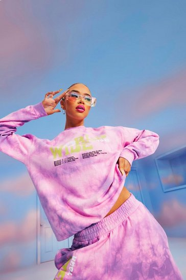 Pink World Wide Tie Dye Oversized  Sweatshirt