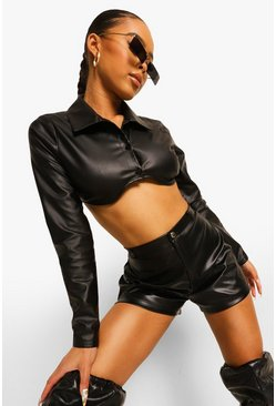 Black Leather Look Single Button Shorts