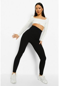 Black Panelled Waist Bandage Contour Leggings