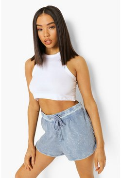 Blue Acid Wash Drawstring Waist Runner Shorts