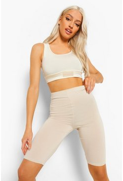 Taupe beige High Waist Longline Cycling Shorts
