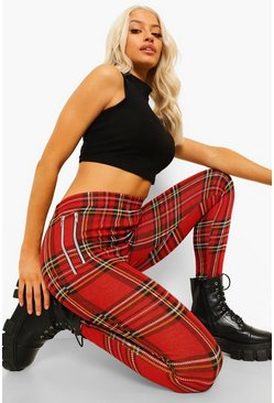 Red Tartan Geruite Ponte Treggings Met Rits Detail