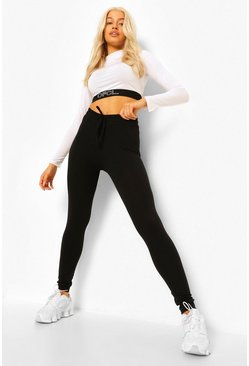 Black Ruched Tie Waist Leggings