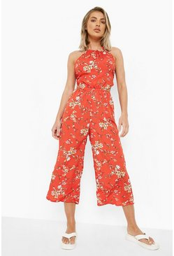 Red Tie Neck Cut Out Floral Culotte Jumpsuit