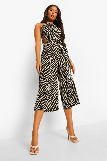 Black Zebra Tie Neck Cut Out Culotte Jumpsuit