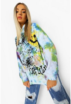 Yellow Graffiti Face Tie Dye Oversized  Hoodie