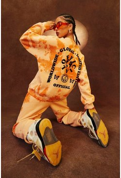 "Orange ""Limited Edition"" Oversize sweatshirt med batikmönster"