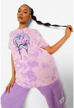 T-Shirt in Batik-Optik mit Print, Violett