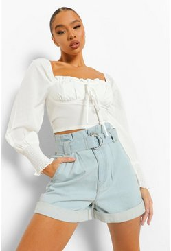 Light blue blue Belted Turn Up Denim Shorts