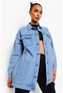 Mid blue blue Longline Oversized Denim Jacket