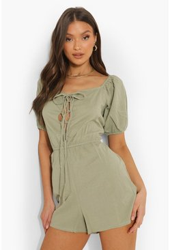Sage green Lace Up Front Puff Sleeve Playsuit