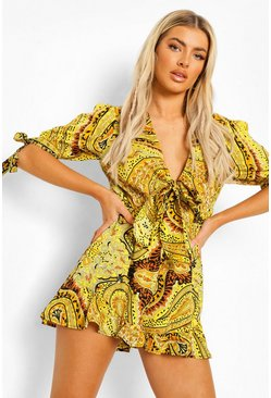 Brown Scarf Print Open Back Tie Detail Romper