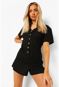 V Neck Button Down Linen Smock Playsuit, Black negro