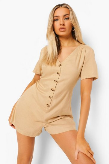 Sand beige V Neck Button Down Linen Smock Playsuit