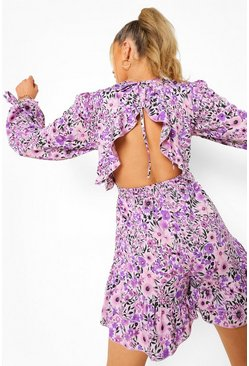 Floral Tie Sleeve Open Back Playsuit, Lilac morado