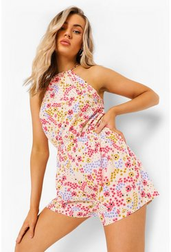 Pink Floral Print Tie Back Playsuit