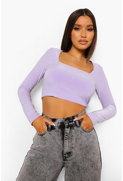 Lilac purple Square Neck Open Back Crop Top