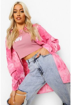 Pink Cord Tie Dye Oversized Shirt