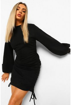 Black Ruched Side Sweater Dress