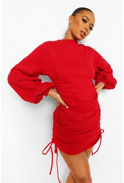 Red Ruched Side Sweater Dress