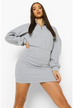 Grey marl grey Fitted Body High Neck Sweat Dress