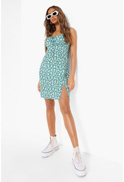 Green Daisy Print Tie Front Mini Dress