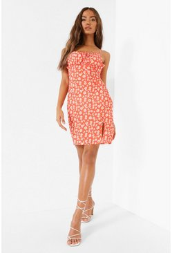 Red Daisy Print Tie Front Mini Dress