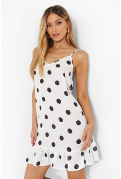 White Polka Dot Drop Hem Mini Dress