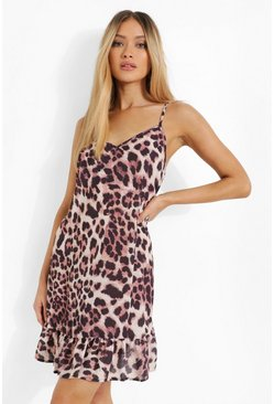 Brown Leopard Print Drop Hem Mini Dress