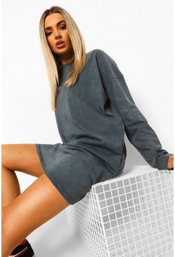 Charcoal grey Long Sleeve Acid Wash T-shirt Dress
