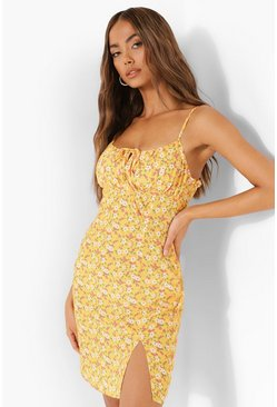 Mustard yellow Ditsy Floral Tie Front Mini Dress
