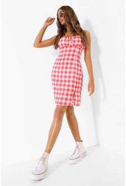 Red Gingham Tie Front Mini Dress