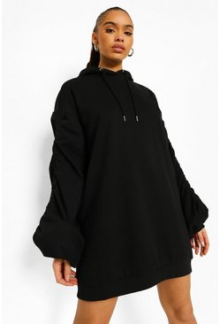 Black Ruched Sleeve Oversized Hoodie Dress