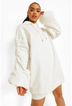 Ecru white Ruched Sleeve Oversized Hoodie Dress
