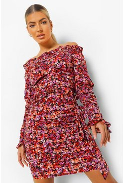 Pink Floral Print Ruffle Drape Detail Mini Dress