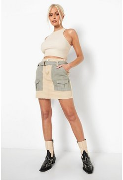 Stone beige Colour Block Utility Denim Skirt
