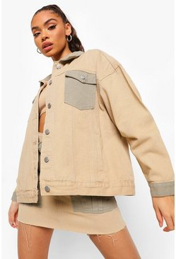 Stone beige Colour Block Utility Denim Jacket